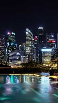Singapore light show iPhone 8 wallpaper
