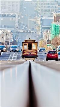 San francisco road cars traffic iPhone 8 wallpaper
