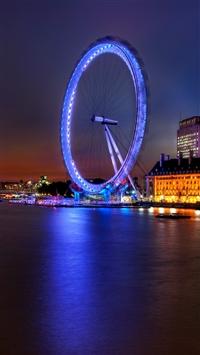 Ferris wheel night building  iPhone 8 wallpaper