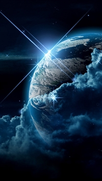 Planet clouds light star iPhone 8 wallpaper