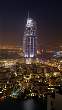 City dubai united arab emirates night iPhone 8 wallpaper
