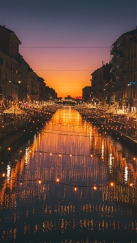 Milan italy river evening city iPhone 8 wallpaper
