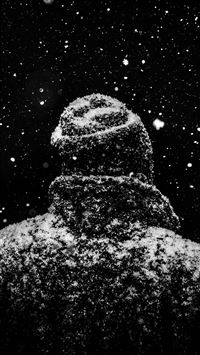 Snow winter dark man iPhone wallpaper