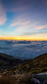 Mountain cloud sunset sky iPhone wallpaper