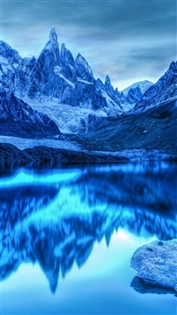 Mountains lake reflection snow iPhone wallpaper