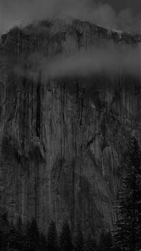 Yosemite black cliff iPhone wallpaper