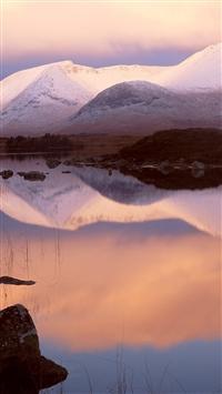 Mountains snow lake reflection iPhone 8 wallpaper