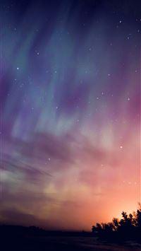 Space aurora night sky iPhone 8 wallpaper