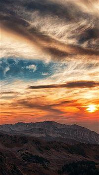 Sunset mountain sky cloud iPhone 8 wallpaper