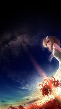 Anime girl in space iPhone 8 wallpaper