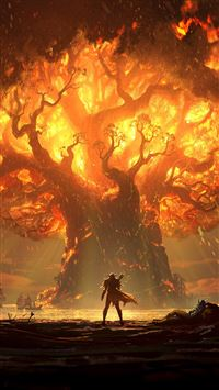 The burning tree of life iPhone 8 wallpaper