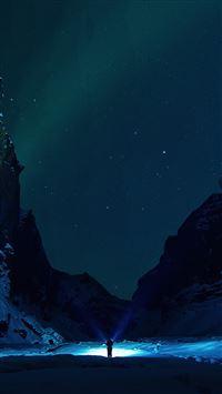 Winter dark night mountain iPhone 8 wallpaper
