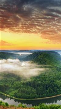 River bend wood fog greens loop iPhone 8 wallpaper
