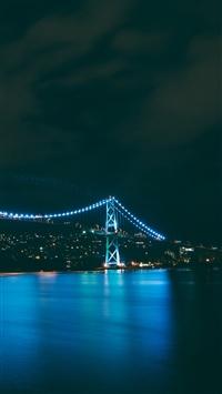 Bridge night city river iPhone 8 wallpaper