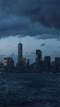 Night city panorama sea shore iPhone 8 wallpaper