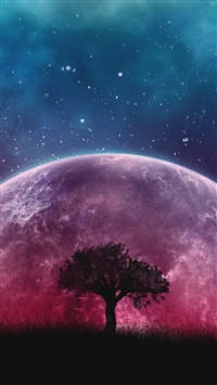 Tree planet stars galaxy art iPhone 8 wallpaper
