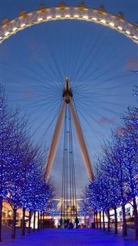 Ferris wheel night city light attraction iPhone 8 wallpaper