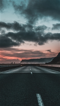 Road marking clouds dawn iPhone 8 wallpaper