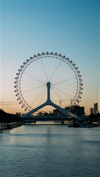 Ferris wheel city entertainment iPhone 8 wallpaper