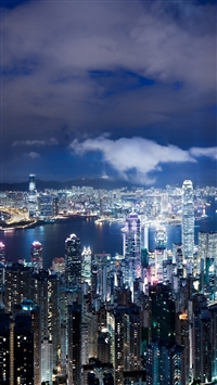 Hong Kong china night metropolis skyscrapers lights iPhone 8 wallpaper