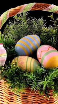 Easter holiday basket eggs ribbons greens black background iPhone 8 wallpaper