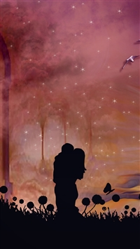 Couple hugs kiss silhouettes iPhone 8 wallpaper