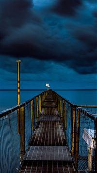 Sea night blue dark bridge ocean iPhone 8 wallpaper