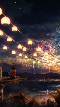 Firework girl dark night anime art iPhone 8 wallpaper