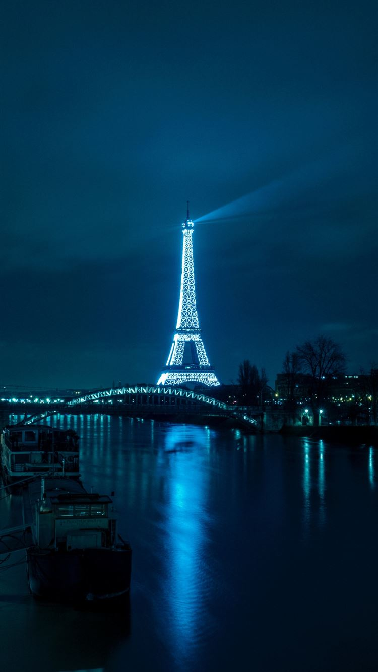 Paris eiffel tower night city river bridge iPhone 8 wallpaper