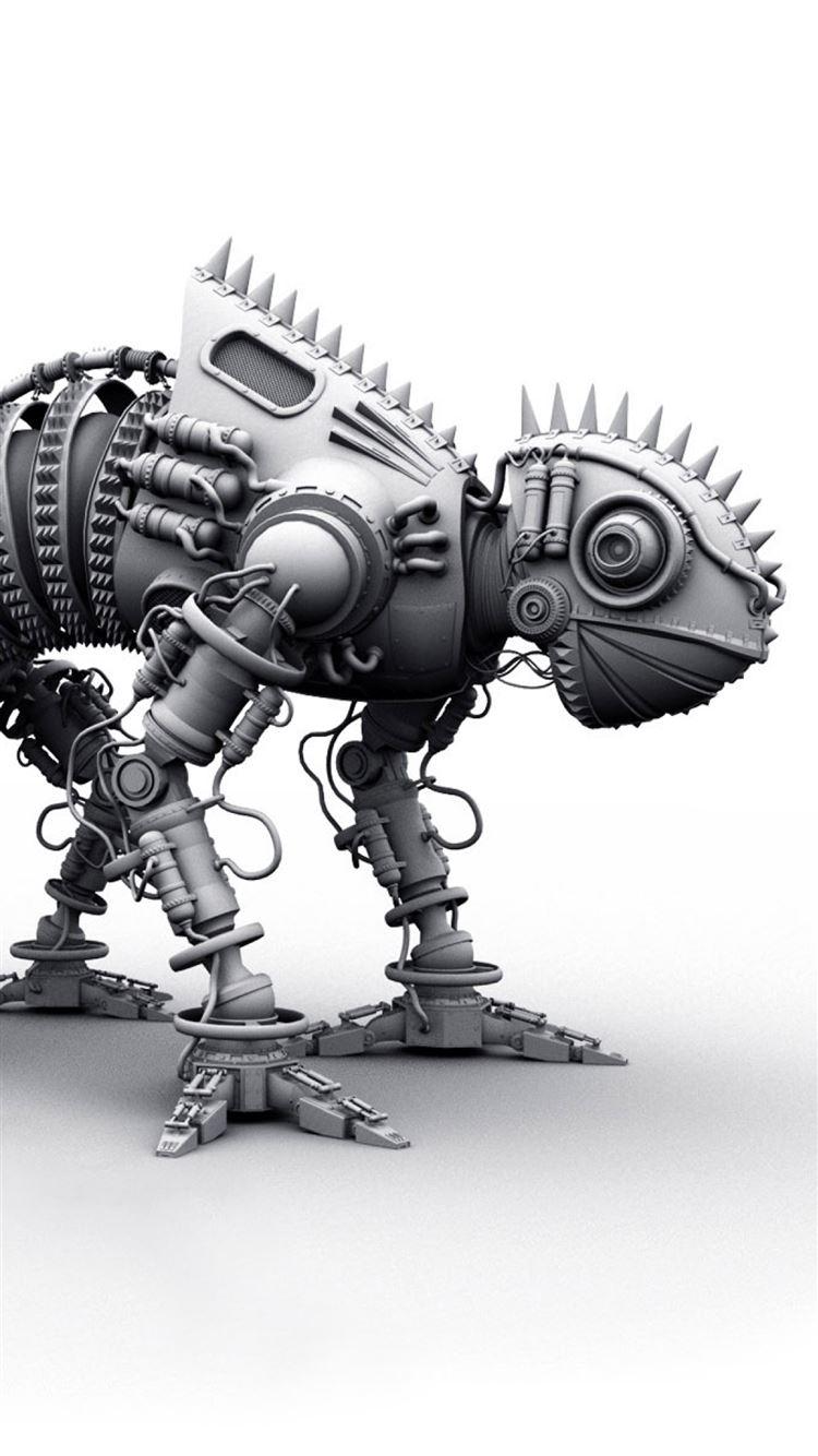 Dinosaur metal shape silver toy iPhone 8 wallpaper