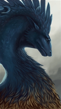 Dragon fantasy art feathers iPhone wallpaper