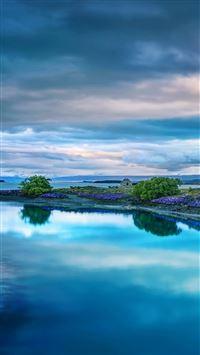 Flower island sea iPhone 8 wallpaper