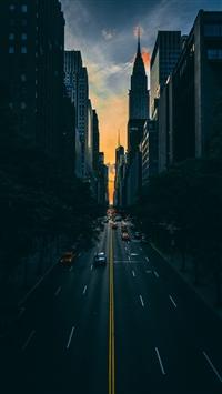 Road traffic skyscrapers manhattan iPhone 8 wallpaper