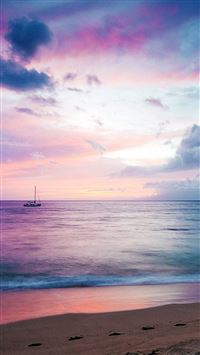 Dreamy sea boat beach iPhone 8 wallpaper
