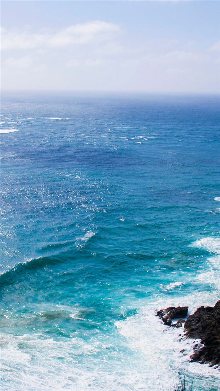 Sea blue wave ocean rock iPhone 8 wallpaper
