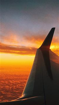 Fly travel sunset iPhone 8 wallpaper