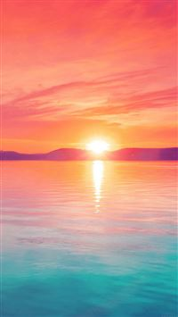 Sunset night lake water sky red flare iPhone 8 wallpaper