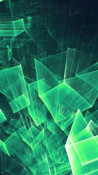 Abstract blue green cube pattern iPhone 8 wallpaper