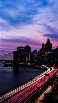 Night city road buildings iPhone 8 wallpaper