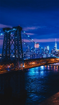 New York night city bridge iPhone 8 wallpaper