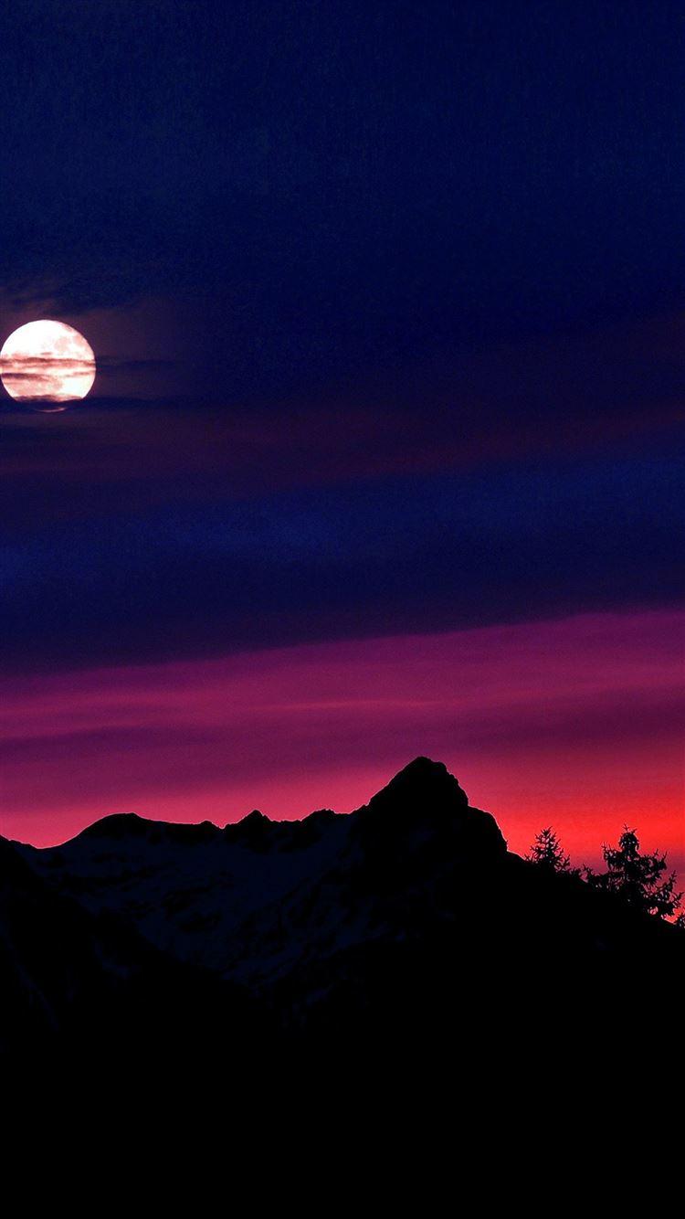 Mountain picks night sunset sky iPhone 8 wallpaper