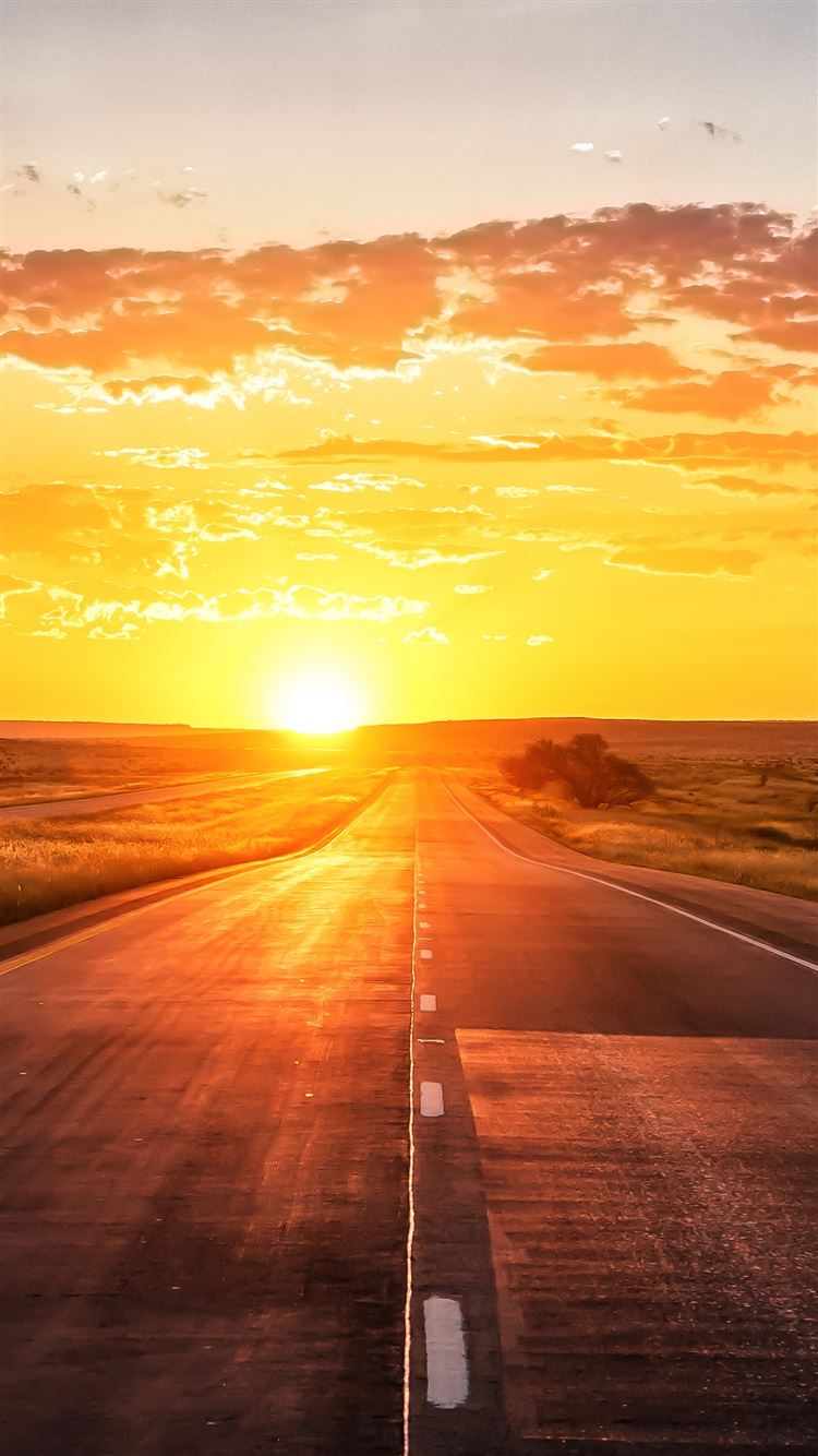 Road Sunset Marking Grass IPhone 8 Wallpaper Download