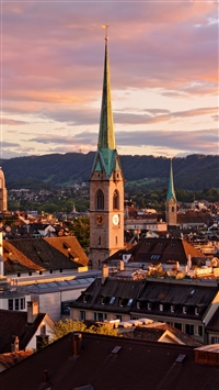 Zurich switzerland roofs buildings sky iPhone 8 wallpaper