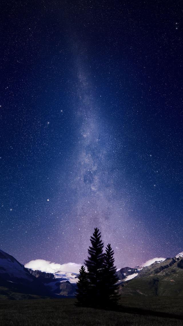 Swiss Alps Night Sky IPhone Se Wallpaper