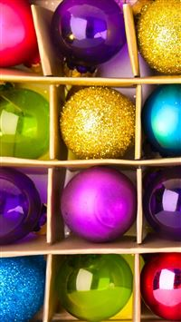 Colorful Christmas Globes iPhone se wallpaper