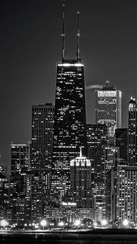 Dark Chicago Cityscape  iPhone se wallpaper