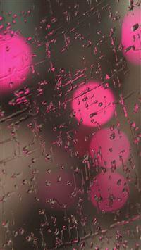 Rain On Glass Pink Lights iPhone se wallpaper