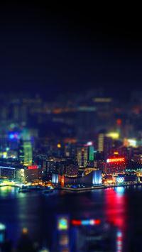 HongKong Night Cityscape Light iPhone se wallpaper