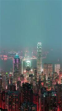 Skyline Hongkong Fire City Night Live iPhone se wallpaper