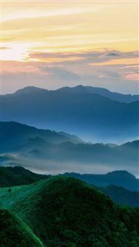Nature Mist Mountains Hill Sky Landscape iPhone se wallpaper